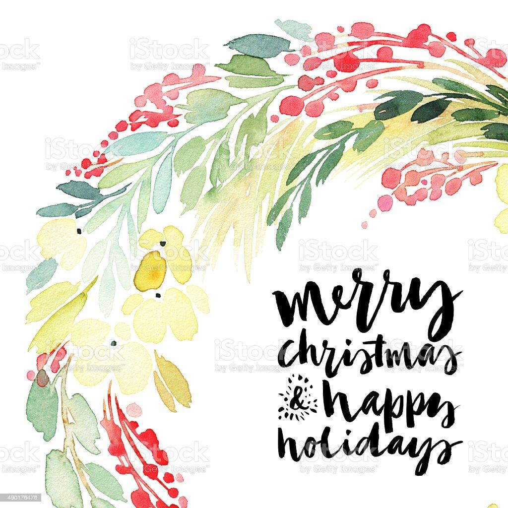 Christmas wreath watercolor. Handmade. Holiday card. vector art illustration