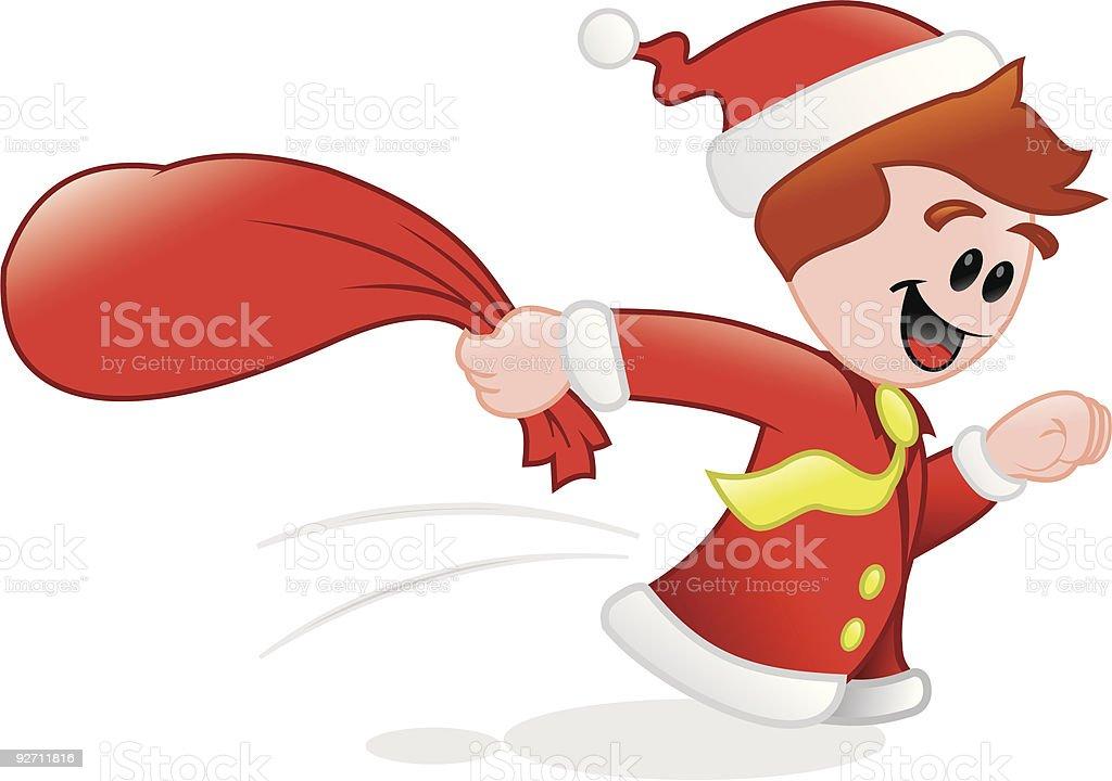 Christmass-corriendo con los regalos. - ilustración de arte vectorial