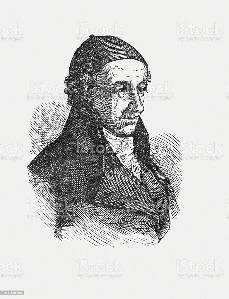 Christoph Martin Wieland (1733-1813), German poet, wood engraving, published 1871 royalty-free stock vector art