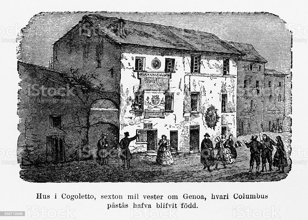 Christopher Columbus Birth Home in Cogoletto, Italy Engraving, Circa 1892 vector art illustration