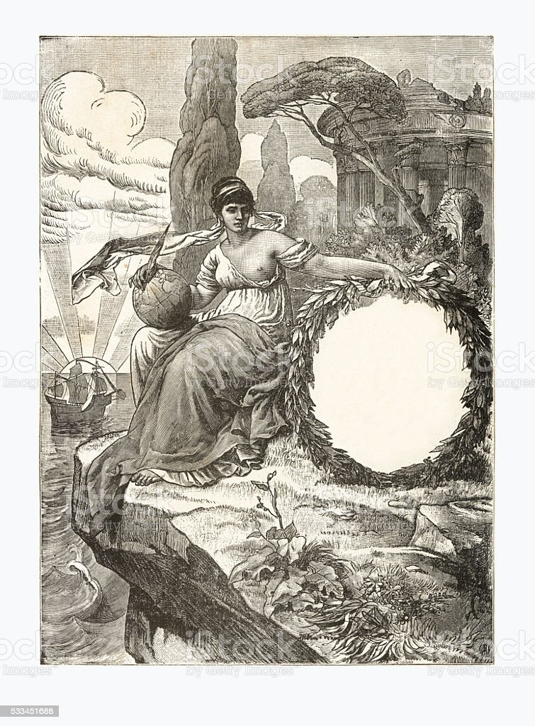 Christopher Columbus Exploration Engraving, Circa 1892 vector art illustration
