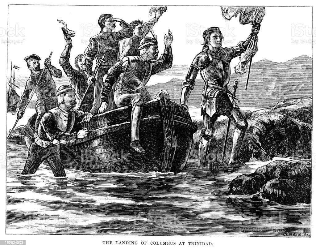 Christopher Columbus landing at Trinidad royalty-free stock vector art