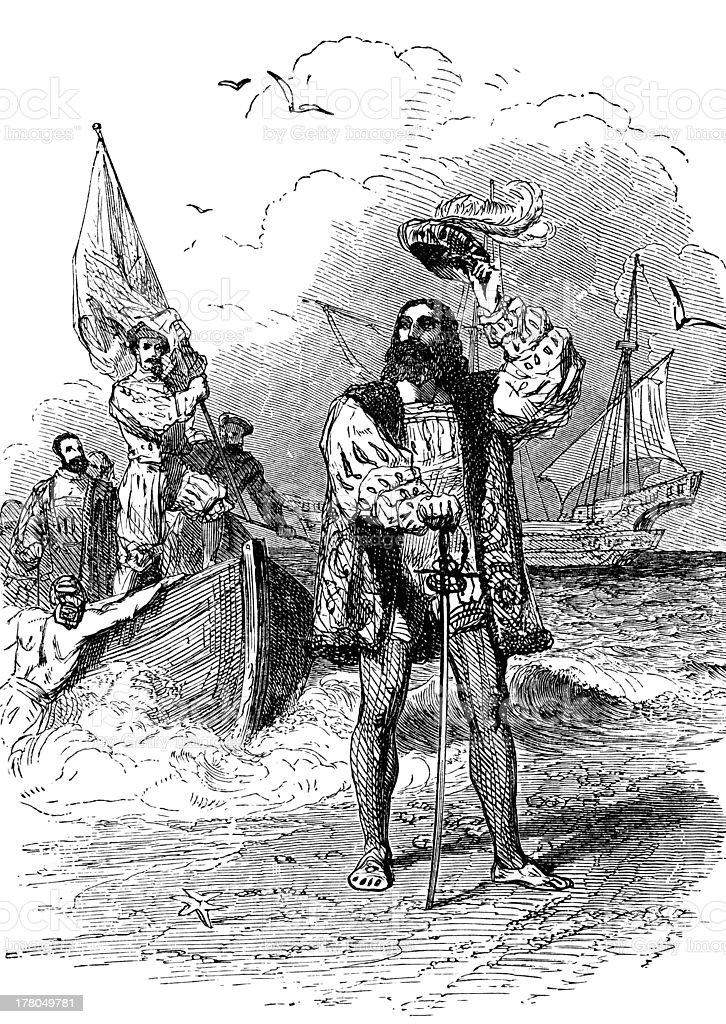 Christopher Columbus Landing In America vector art illustration