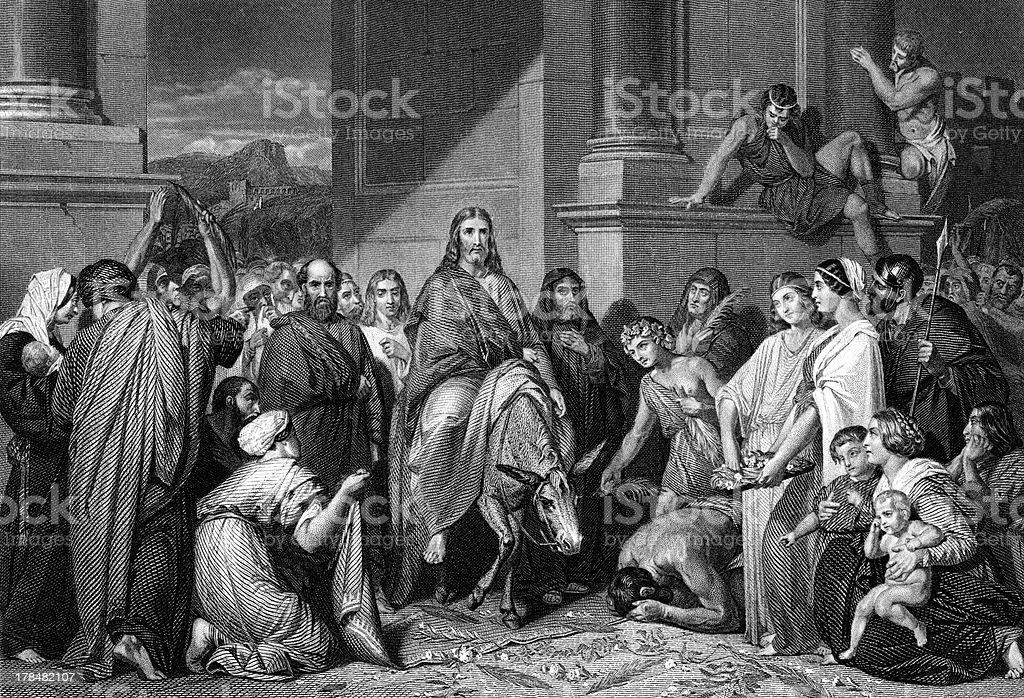 Christ's Entry Into Jerusalem royalty-free stock vector art