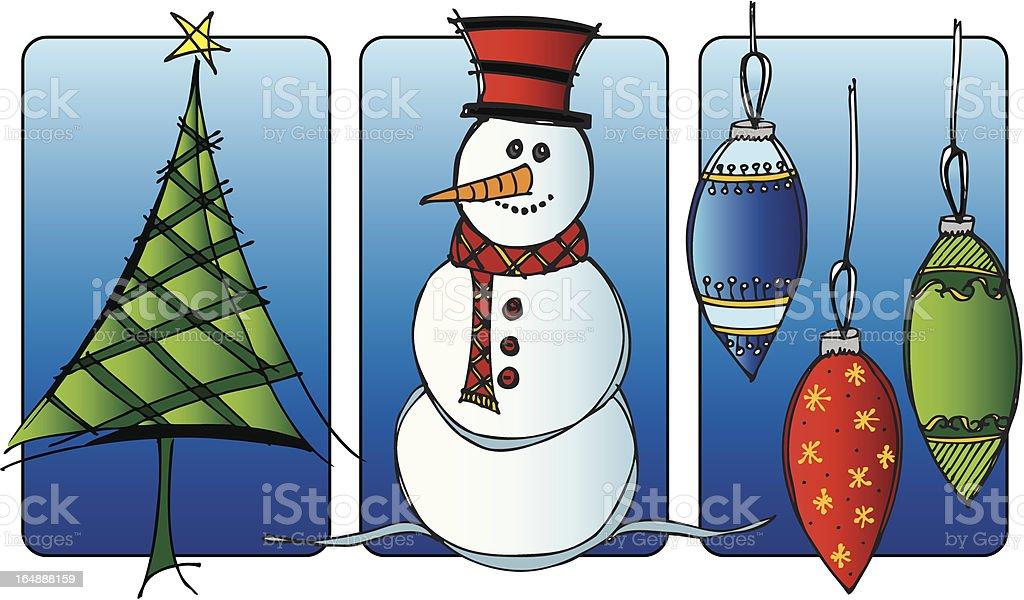 Chritmas Trio - Christmas Tree, Snowman and Ornaments royalty-free stock vector art