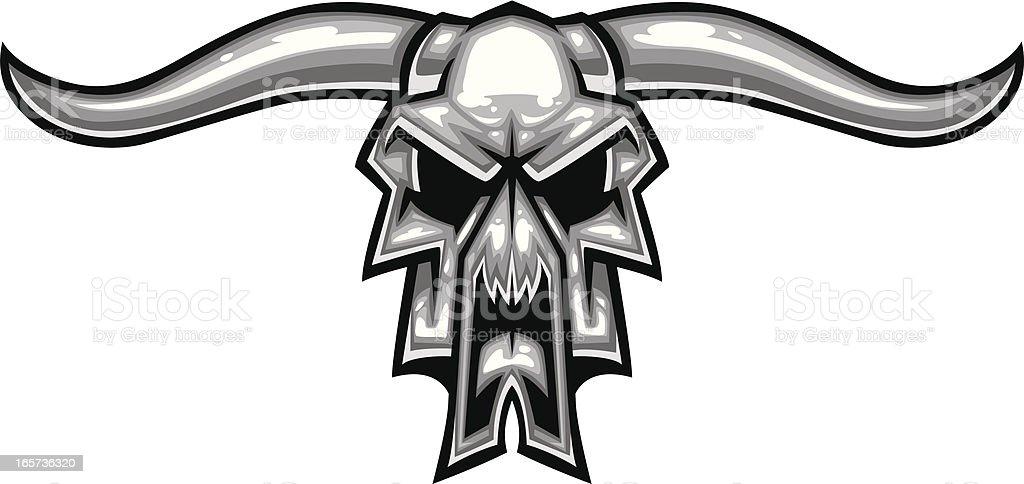 chrome cow skull vector art illustration