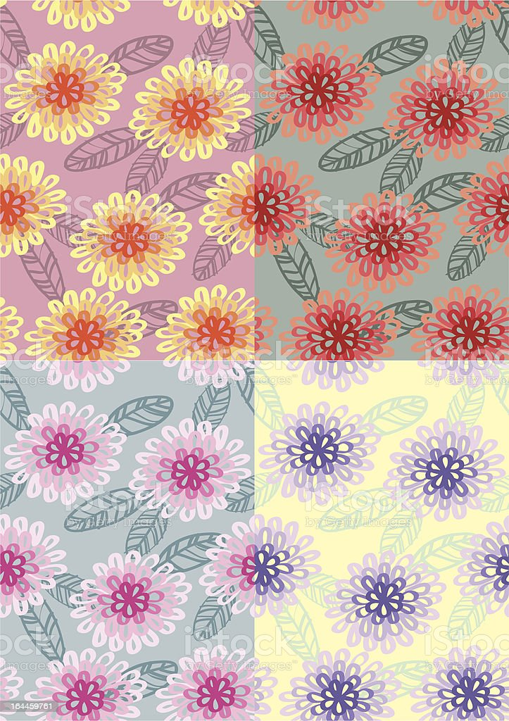 Chrysanthemums Pattern vector art illustration