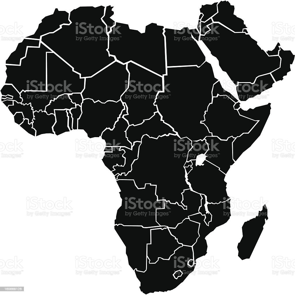 Chunky Africa Map vector art illustration