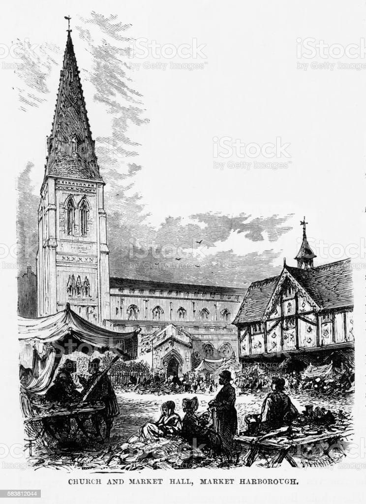 Church and Market, Market Harborough, England Victorian Engraving, Circa 1840 vector art illustration