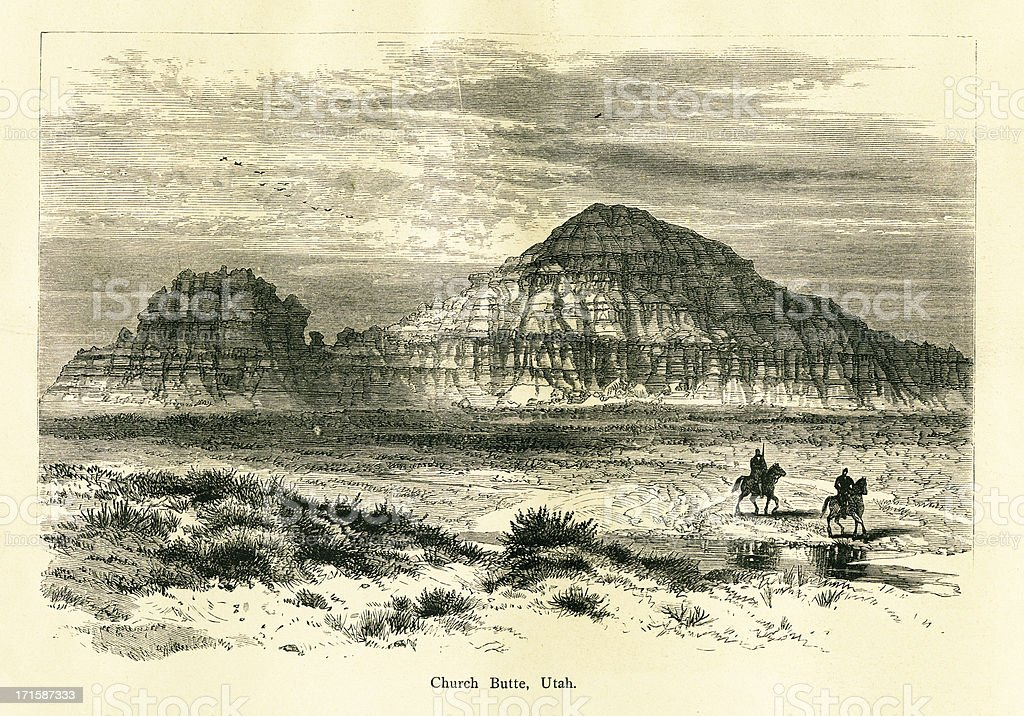 Church Butte, Utah   Historic American Illustrations vector art illustration