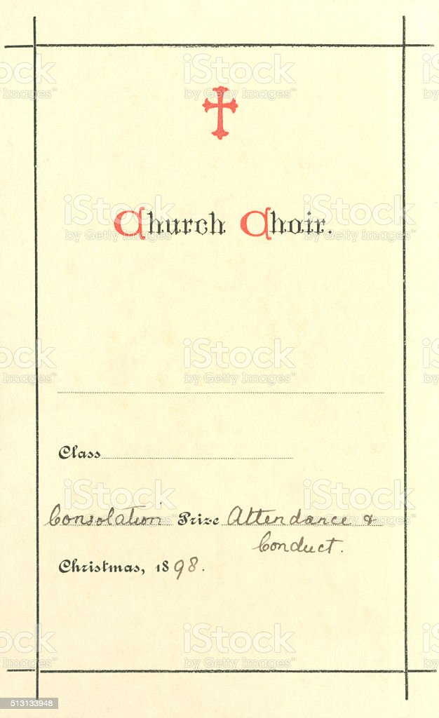 Church choir 'Consolation Prize' book label, 1898 vector art illustration