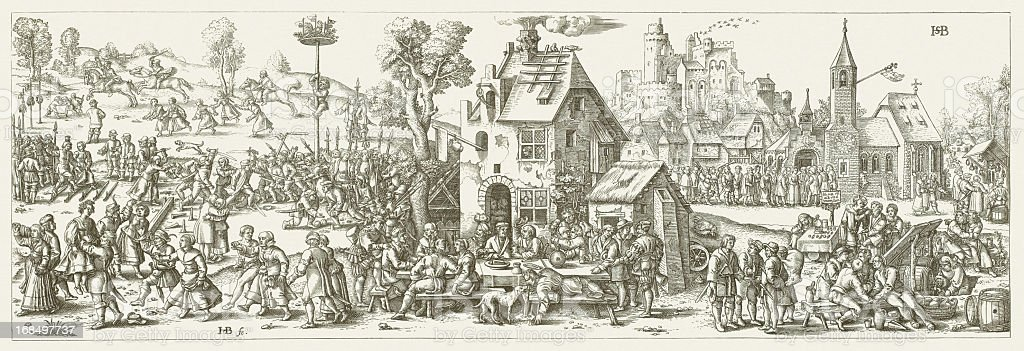 Church consecration festival in a village in 1530, published 1881 vector art illustration