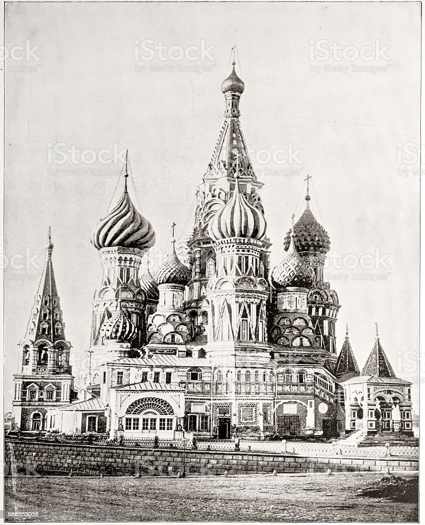 Church of St. Basil, Moscow, Russia vector art illustration