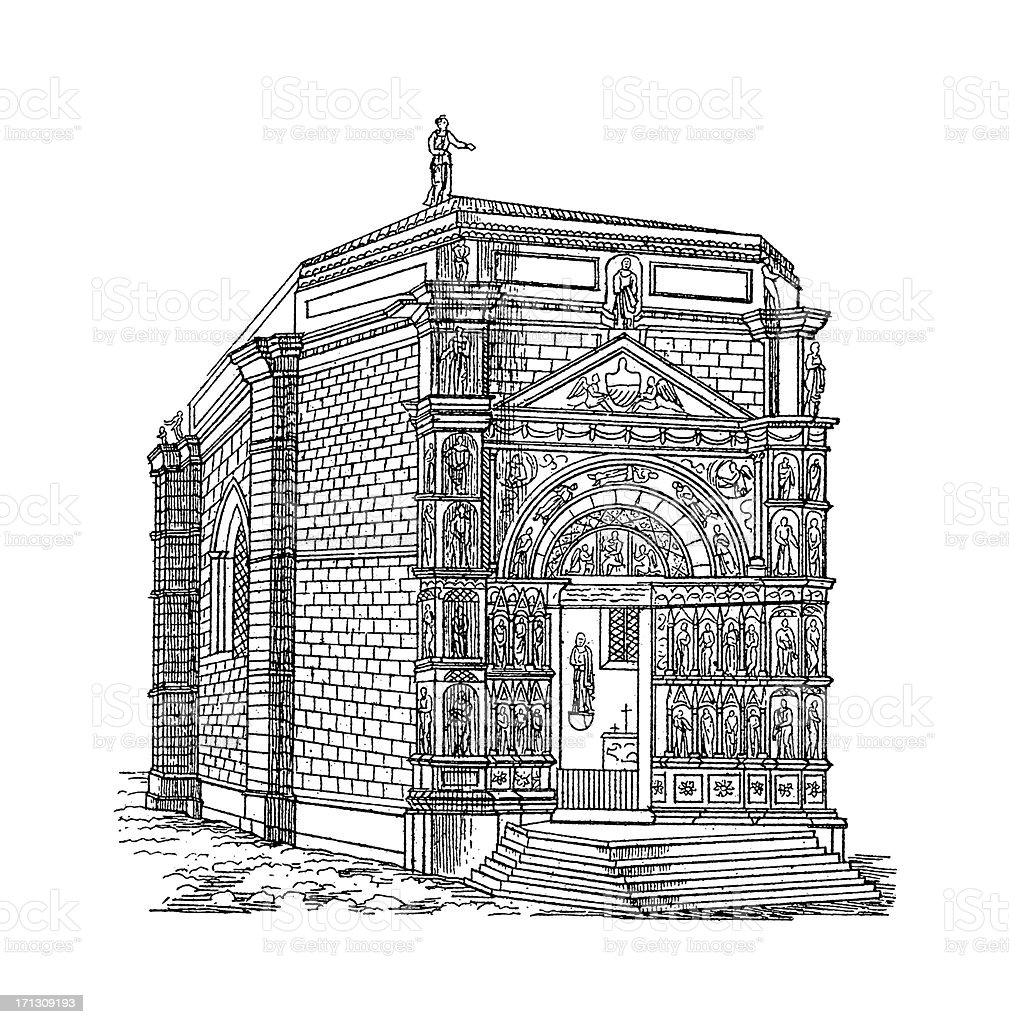 Church of St. Giacomo, Vicovaro, Italy | Antique Architectural Illustrations royalty-free stock vector art