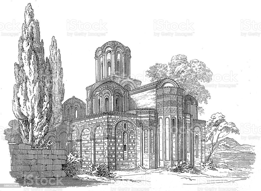 Church of the Holy Apostles in Thessaloniki, Greece vector art illustration