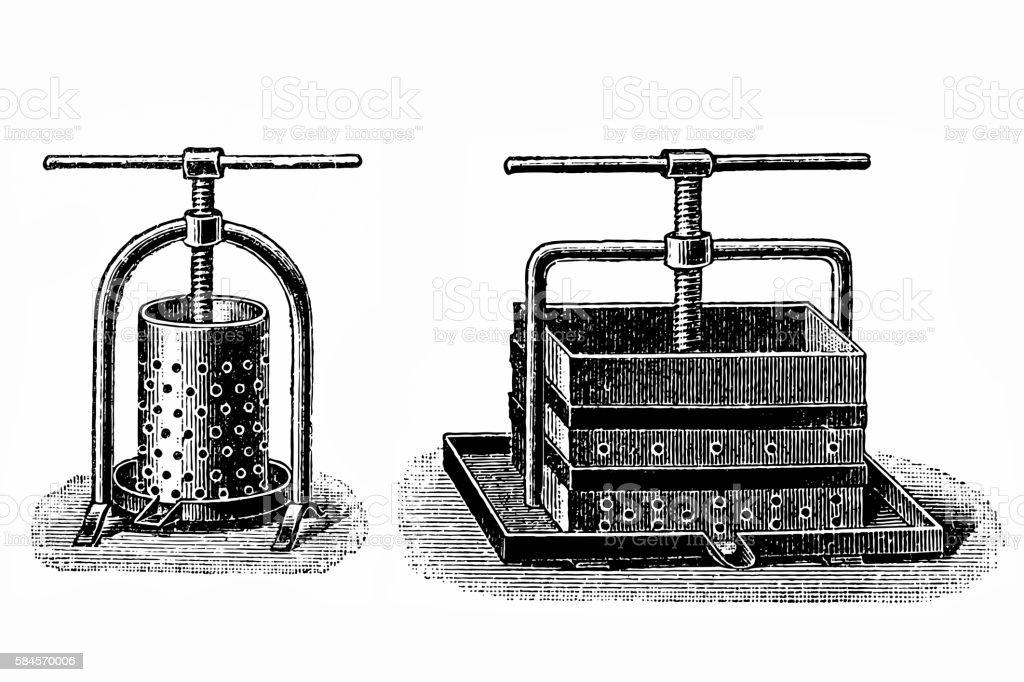 Cider Press, vintage engraving vector art illustration