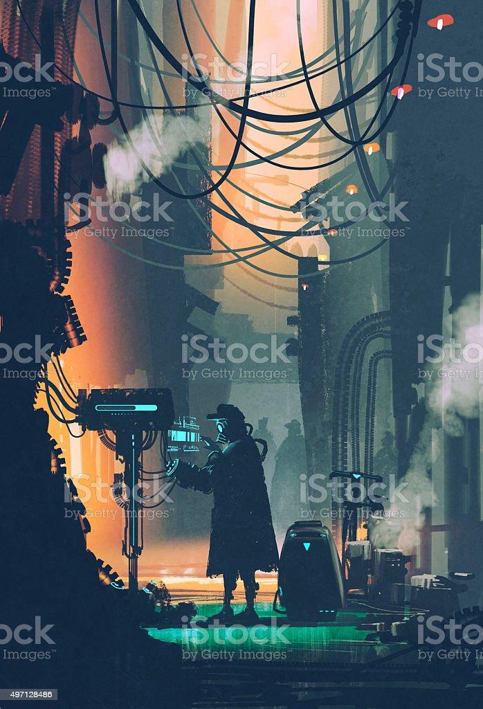 ci-fi scene of robot using futuristic computer in city street vector art illustration