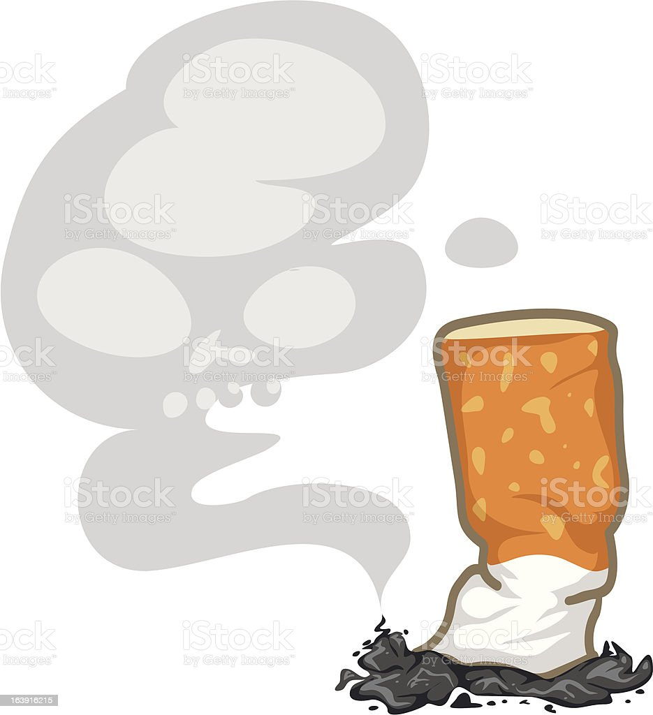 Cigarette and skull smoke vector art illustration