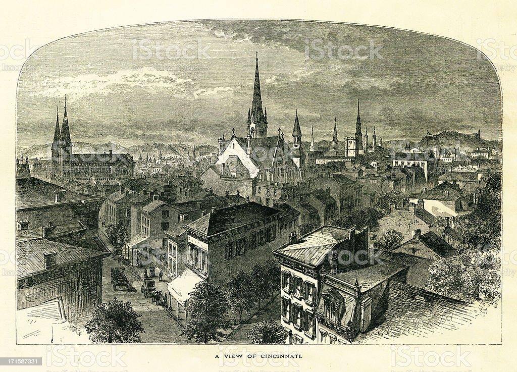 Cincinnati, Ohio | Historic American Illustrations royalty-free stock vector art