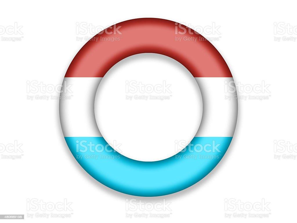 Circle Flag of Luxemburg vector art illustration
