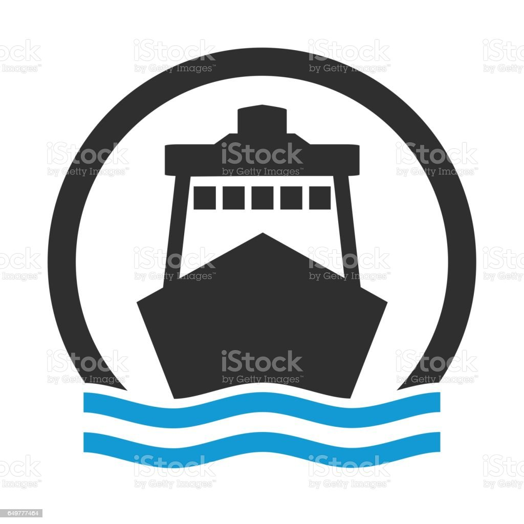 Circle icon of Cruise Ship or Harbour vector art illustration