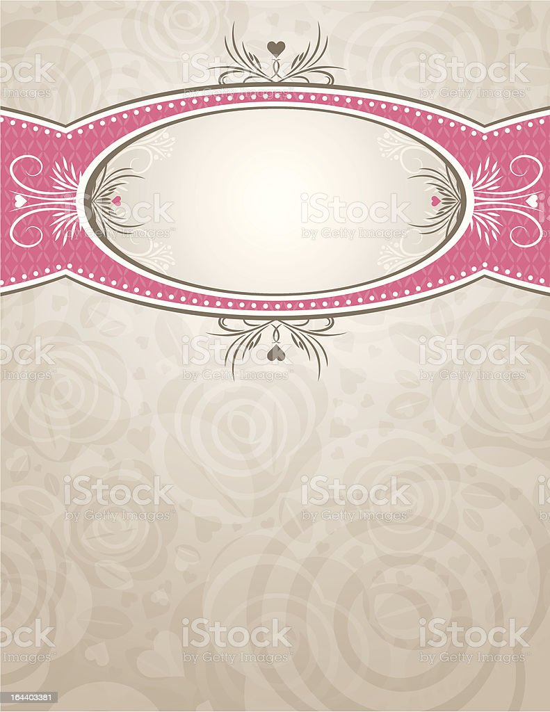 circle label over background of roses royalty-free stock vector art