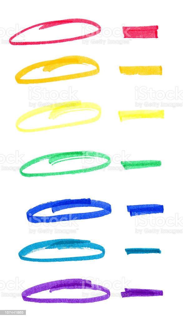 Circles and lines drawn in felt colored pens for marketing stock photo