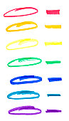 Circles and lines drawn in felt colored pens for marketing