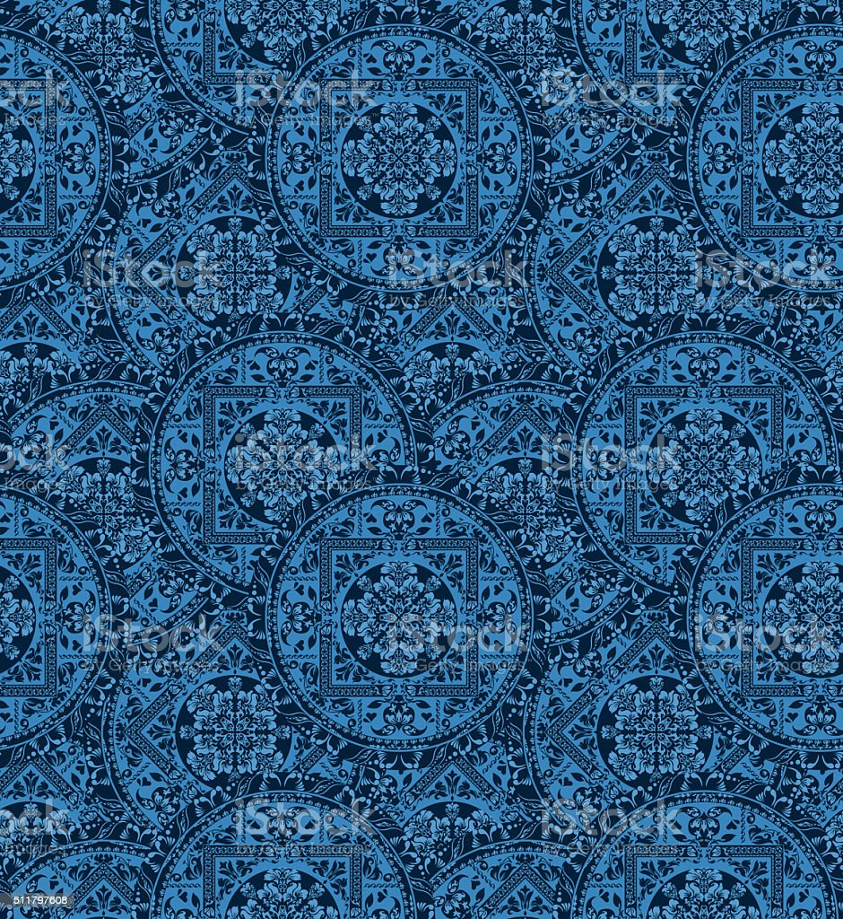 Circular seamless pattern of traditional motifs vector art illustration