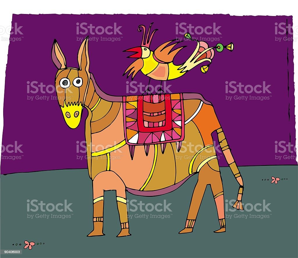 circus donkey and bird royalty-free stock vector art