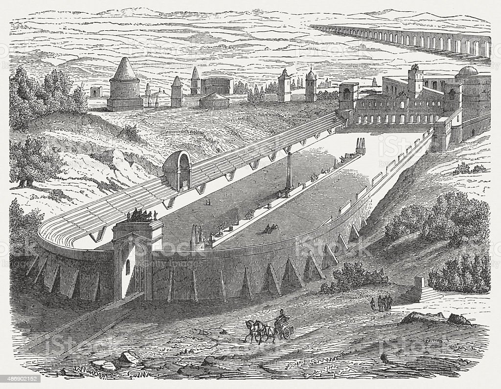 Circus of Maxentius in ancient Rome, published in 1878 vector art illustration