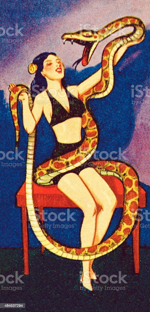 Circus woman with snake vector art illustration