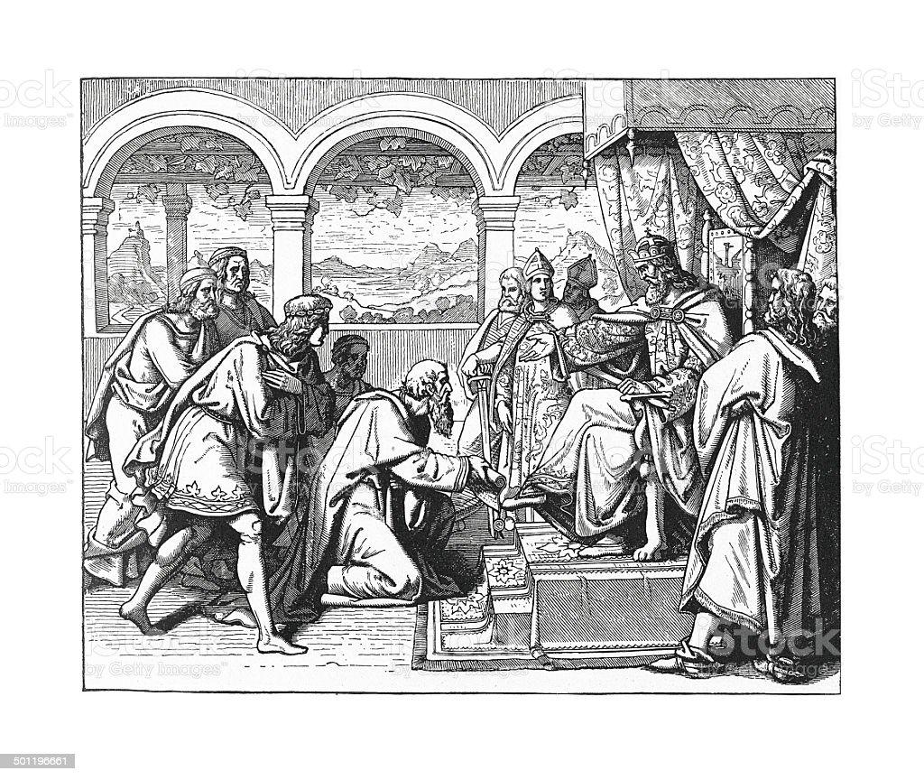 Citizens of Lodi imploring Friedrich's Help vector art illustration