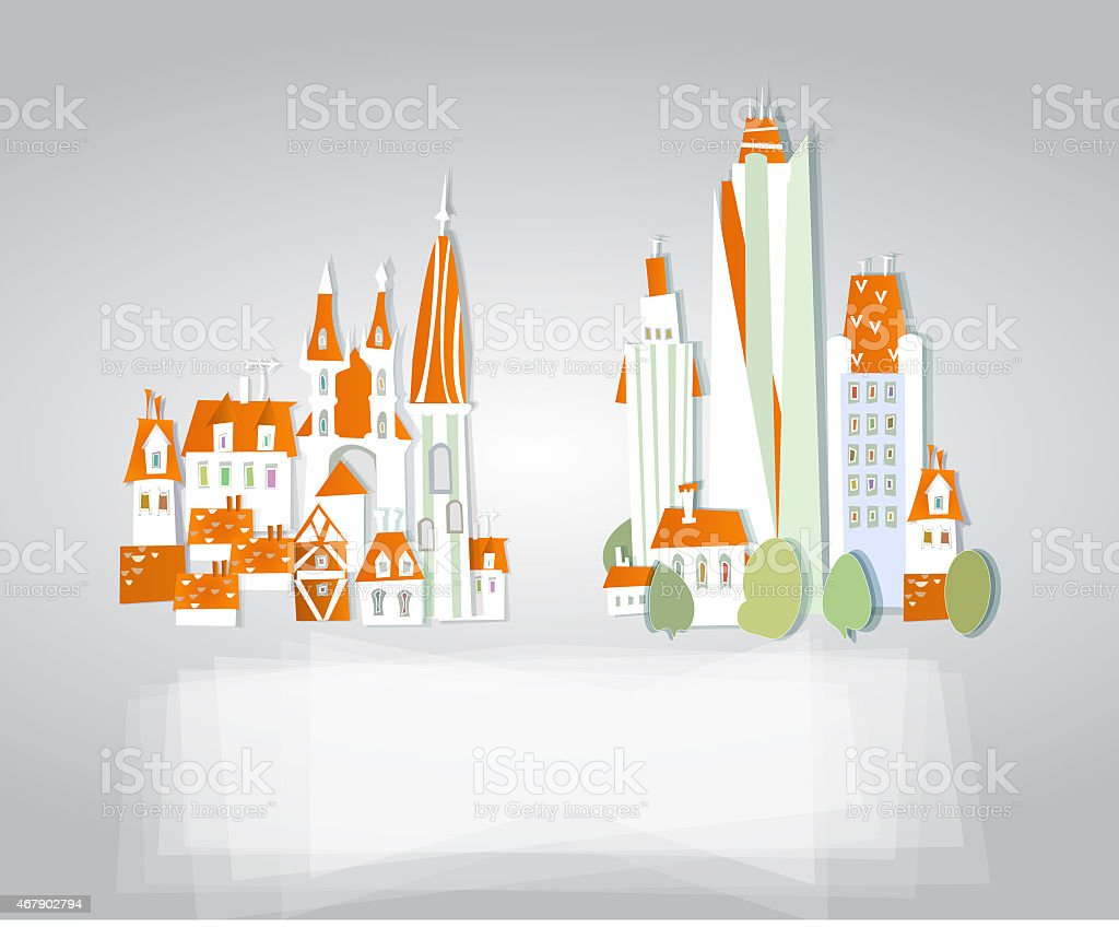 City background made of paper stickers effect vector art illustration