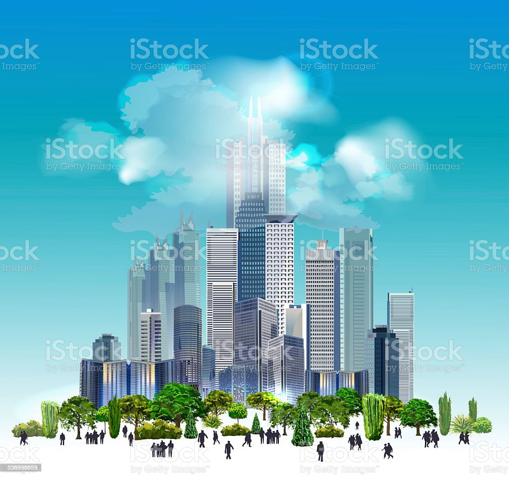 City background with skyscrapers vector art illustration