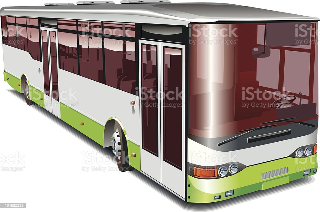 City bus isolated vector art illustration