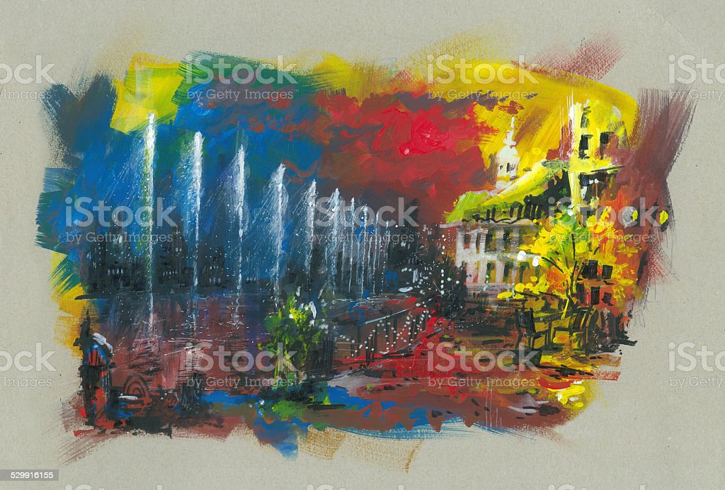 city by the lake acrylic painting vector art illustration