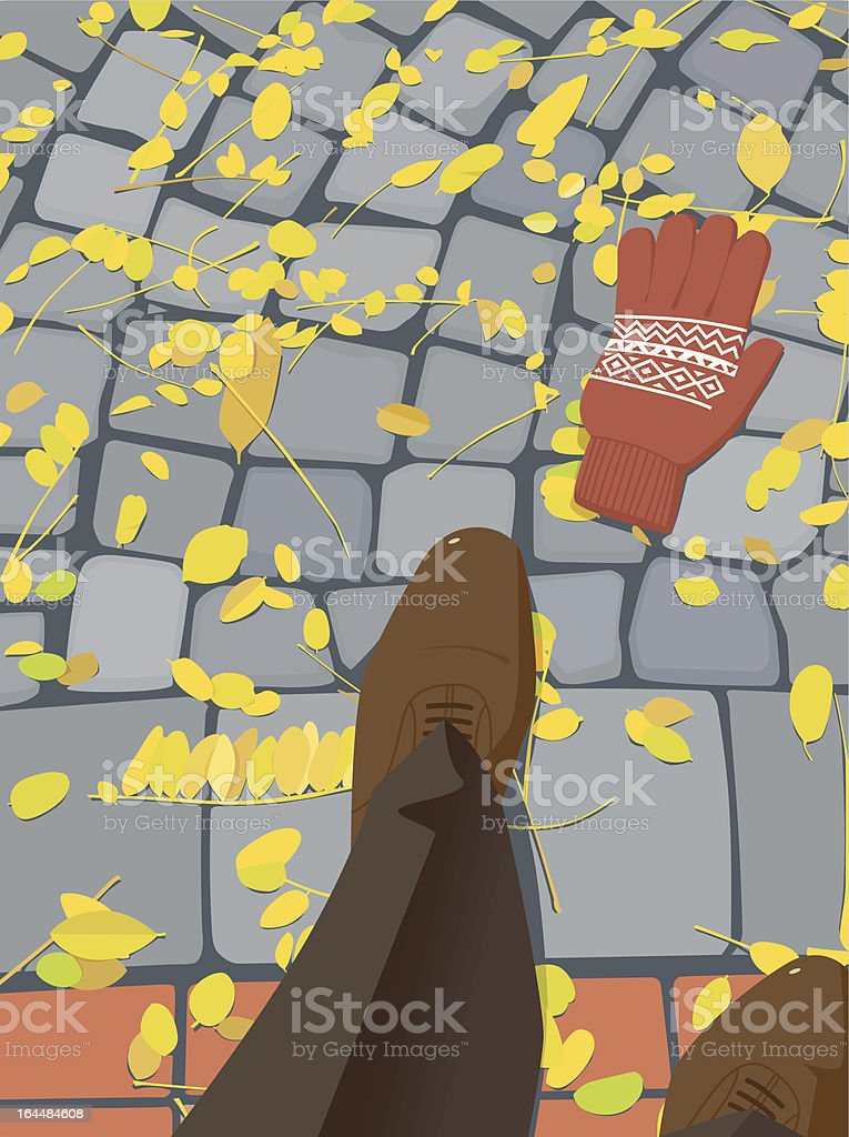City Cobblestone Sidewalk with Autumn Leaves and a Lost Glove royalty-free stock vector art