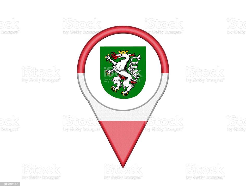 City Flag Pin of Graz vector art illustration