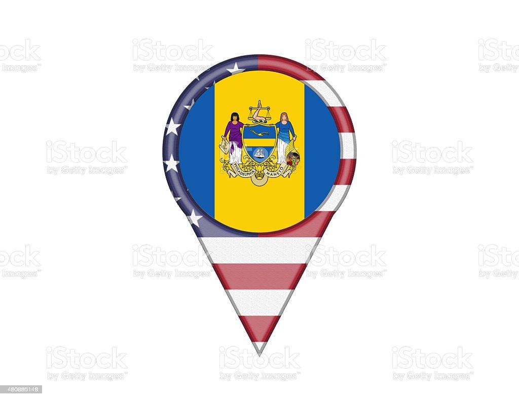 City Flag Pin of Philadelphia vector art illustration