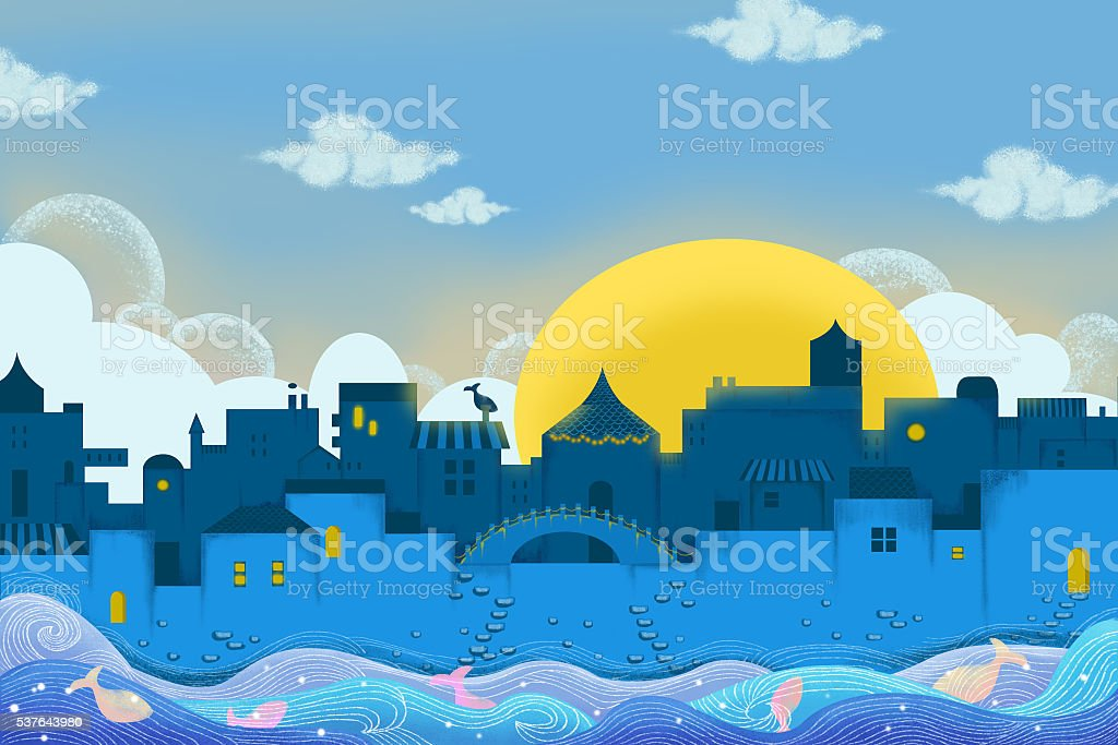 City Floating on Water. Realistic Fantastic Cartoon Style Artwork Scene vector art illustration