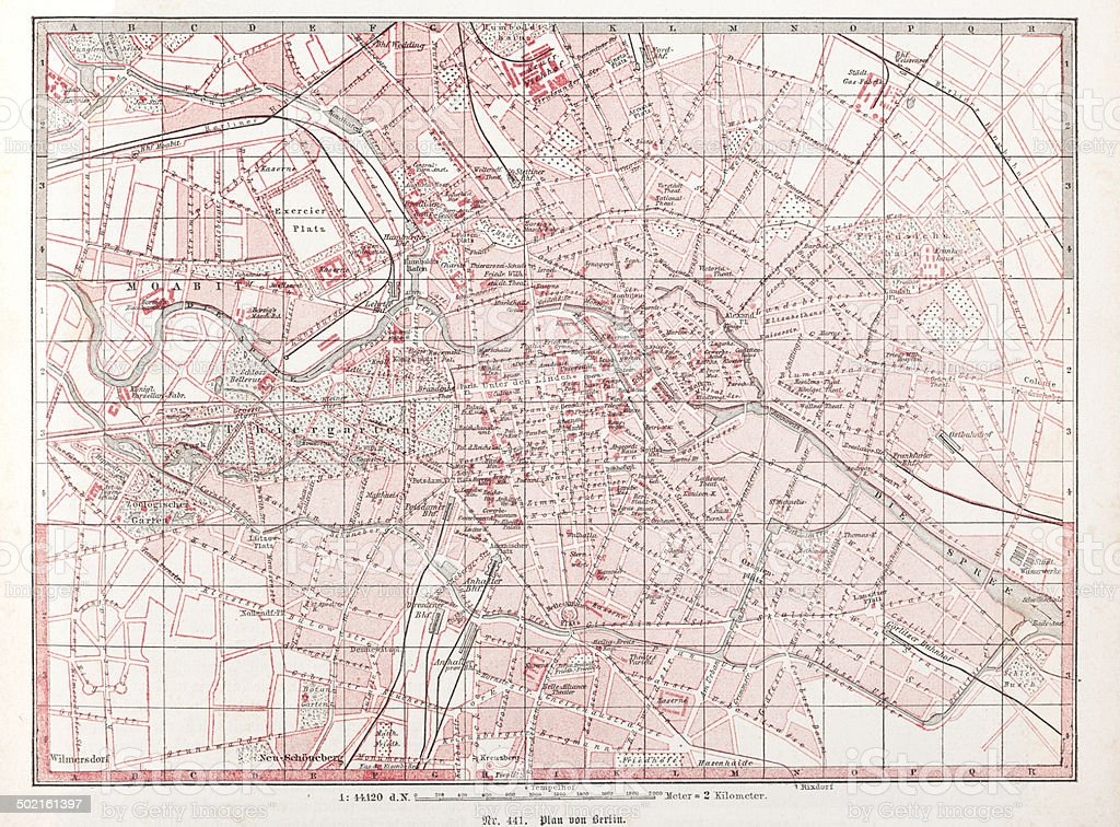 City Map of Berlin downtown Germany from 1870 vector art illustration