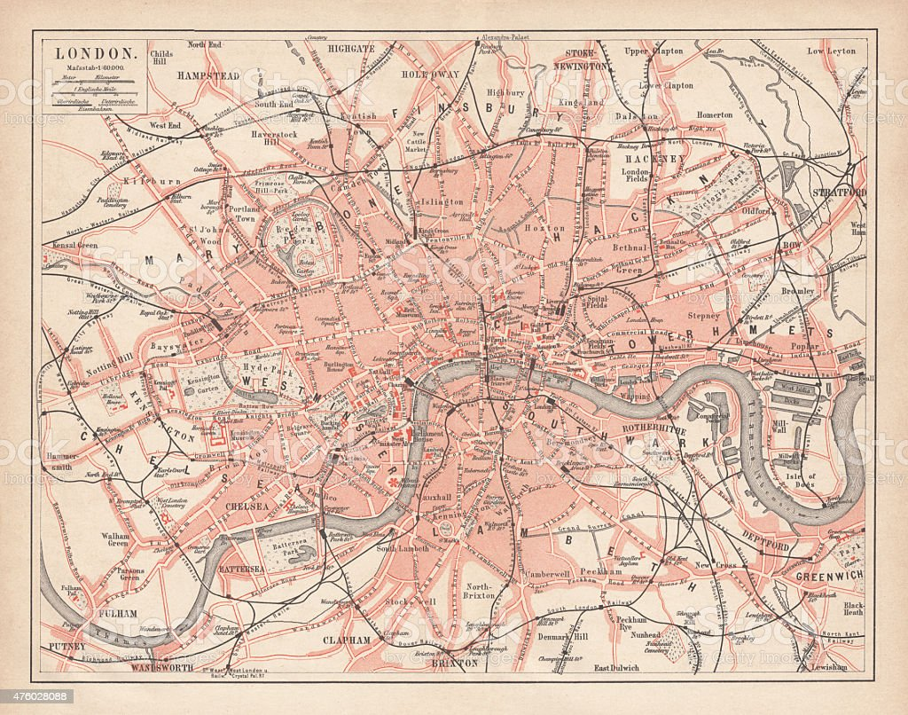 City map of London, lithograph, lithograph, published in 1877 vector art illustration
