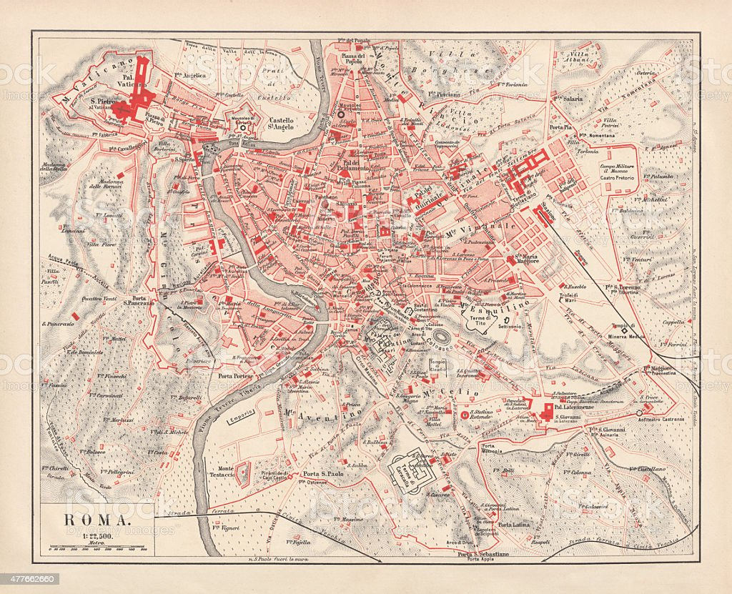 City map of Rome, lithograph, published in 1878 vector art illustration