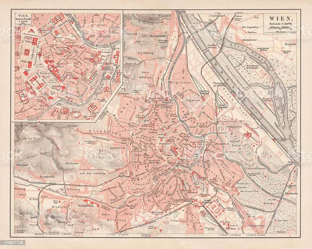 City map of Vienna, Austria, published in 1878 vector art illustration