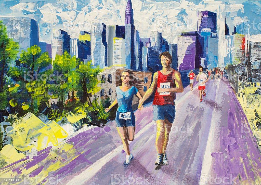 City Marathon vector art illustration