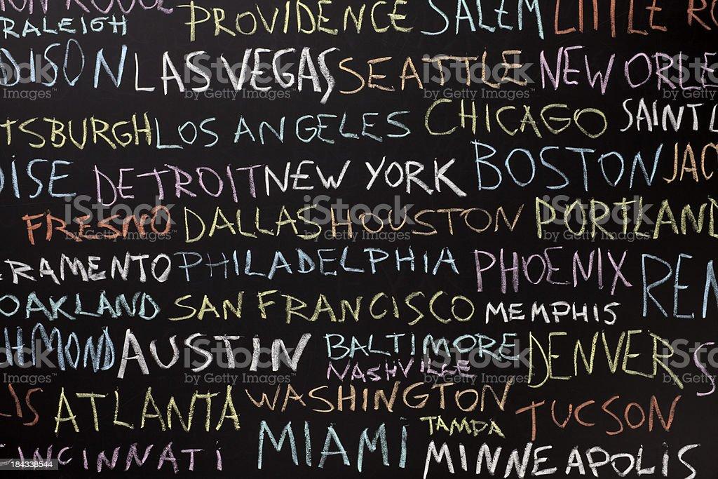 US city names over blackboard royalty-free stock vector art