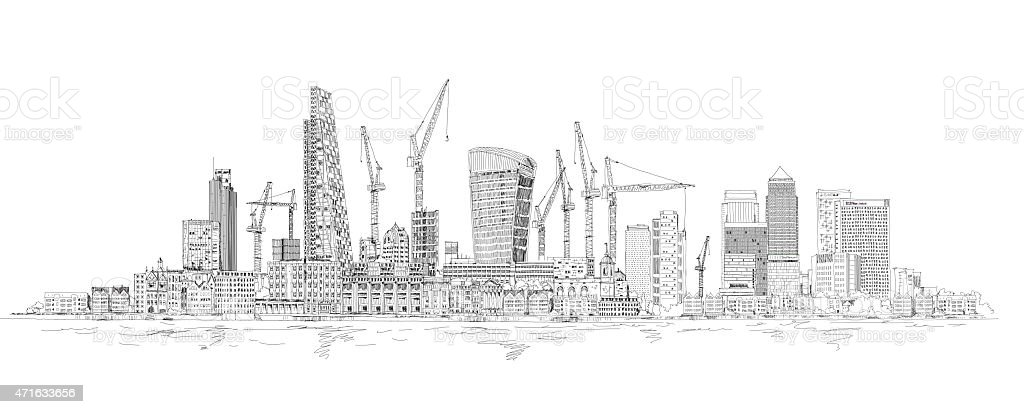 City of London and Canary Wharf, Sketch collection vector art illustration