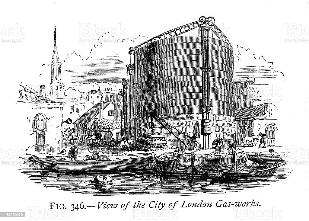 City of London Gas Works royalty-free stock vector art