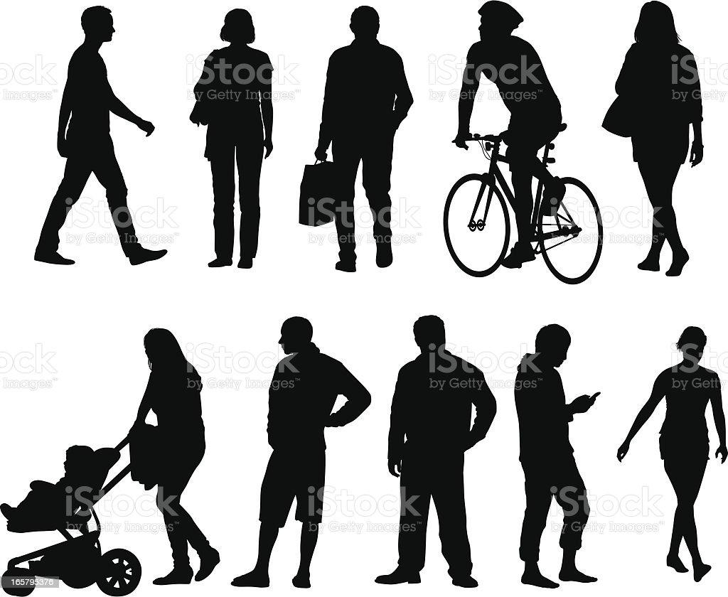 City people silhouettes vector art illustration
